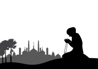 religious young Muslim woman praying over mosque background