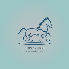 outline horse and dog logo