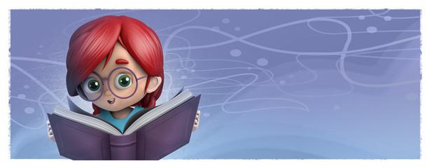 niña con gafas leyendo un libro