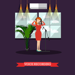 Voice recording in radio vector flat illustration