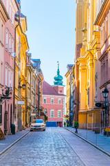Novomiejska street leading towards the royal castle in Warsaw, Poland.