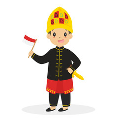 Aceh boy wearing traditional wedding dress and holding Indonesian flag cartoon vector