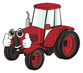 tractor, car, transport, farm, illustration, cartoon, agriculture, red, face, gesture