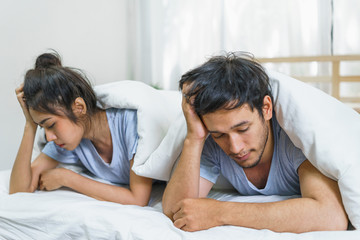 Couple have sex problems on the couch. Lovers unhappy in life partner. Concept of lifestyle and family.