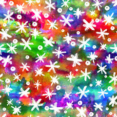 Watercolor Seamless pattern with hand drawn snowflakes. Abstract brush strokes. Ink illustration. White on rainbow background. . New year and Christmas fabric design. Holiday print. Rainbow color