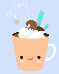 blue pastel greeting card with ice cream in cup and happy new year wording