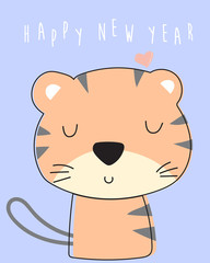 Blue pastel greeting card with tiger and happy new year wording
