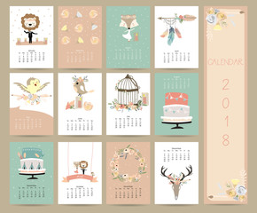 Colorful pastel monthly calendar 2018 with wild,lion,bird,leaf,flower,cage and cake.Can be used for web,banner,poster,label and printable