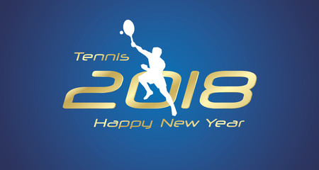 Tennis smatch 2018 Happy New Year gold logo icon blue background