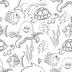 Seamless Pattern, Cartoon Sea Creatures, Dolphin, Fish, Turtle, Octopus and Algae Black Contours Isolated on White Tile Background. Vector