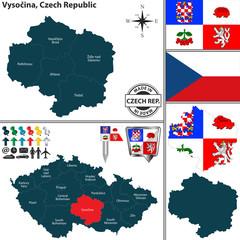 Map of Vysocina, Czech Republic