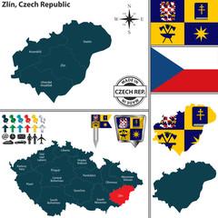 Map of Zlin, Czech Republic