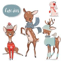 set with cute watercolor winter deer
