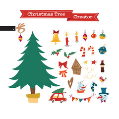 Christmas collection of decorative objects in mid-century style: tree, garland, lanterns, balls, ginger biscuits, snowman, bow, candy. Xmas Tree Creator. Vector seasonal design easy editable.