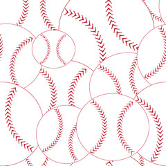 Baseball seamless pattern red and white with stitching vector