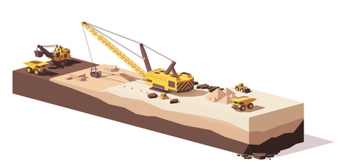 Vector low poly excavators and haul truck