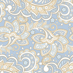 Vector Floral Illustration in asian textile style. Seamless pattern with Ethnic Flowers.