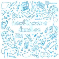 hand drawn medicine doodle vector illustration