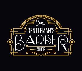 Barber shop vintage logo with linear frame. Vector illustration