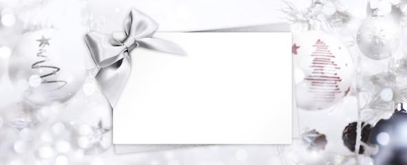 Fotomurales - christmas greeting gift card with silver ribbon bow and balls ba