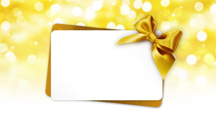 Fotomurales - christmas greeting gift card with ribbon bow on golden lights background template white copy space