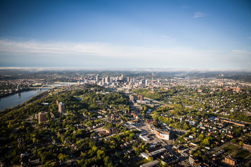 Aerial view of Mt. Adams and the Cincinnati Skyline