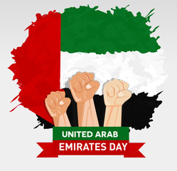 hand fist arm the symbol of UAE United Arab Emirates independence day and national awakening day of United Arab Emirates with flag background red white black green