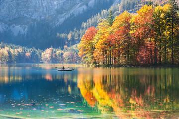 Hinterer Langbathsee lake in Austrian Alps.
