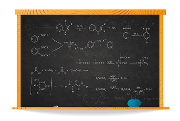 Basic chemical reaction equations and formulas on school blackboard in wooden frame isolated on white
