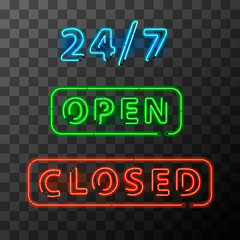 Bright realistic neon open and closed sign