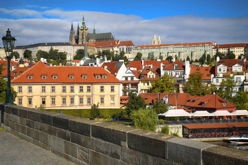 Panoramic view on St. Vitus Cathedral from Charles Bridge in Prague, Czech Republic
