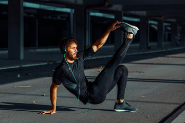 Young man exercise outdoors