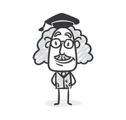 Doktorhut Professor Strichfigur Strichmännchen Nr. 15