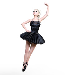 Dancing ballerina 3D. Black ballet tutu. Blonde girl with blue eyes. Ballet dancer. Studio photography. High key. Conceptual fashion art. Render realistic illustration.