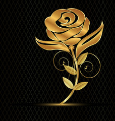 Gold flower rose on black background