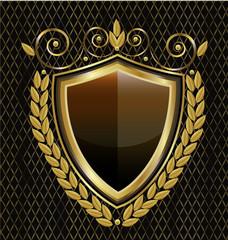 Gold shield emblem vintage, icon vector