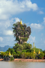 Beautiful Buddhist Kyauk Kalap Pagoda in Hpa-An, Myanmar.