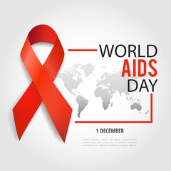 Vector illustration on the theme World Aids Day. Red ribbon. World map.