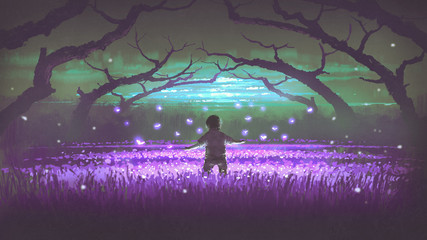 Photo sur Plexiglas Aubergine wonderful night scenery showing a boy standing in the garden of purple flowers with glowing insects, digital art style, illustration painting