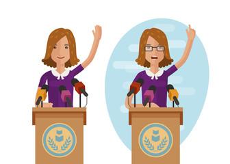 Orator speaks from rostrum. Publicly speech concept. Cartoon vector illustration