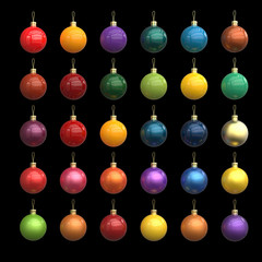 Colorful christmas new year balls made out of different materials isolated on black. Gold, plastic, metal, car paint, metallic . render