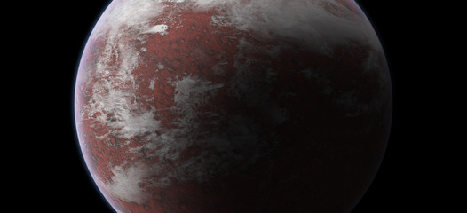 Red Planet in Outer Space on Black Background. Elements of this image furnished by NASA.