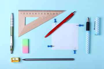 Stationery, pop art, white blue fountain pen, red fountain pen, pencil, office desk, place for making contracts in the style of minimalism, modern school education