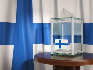 Ballot box with flag of Finland and voting papers. Finnish presidential or parliamentary election.