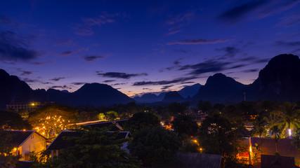 Viewpoint and beautiful night scenic at Vang Vieng, Laos.