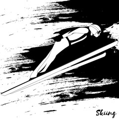Winter sport. Ski jumping. Vector skier isolate. Black and white sample. Page for coloring book.