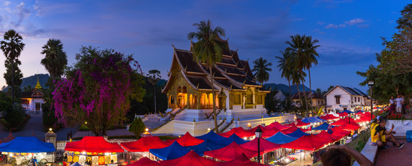 The night souvenir market in front of National museum of Luang Prabang, Laos.