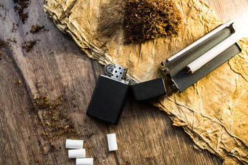 Smoking accessories and dry tobacco leaves