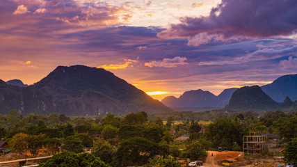 Viewpoint and beautiful sunset at Vang Vieng, Laos.