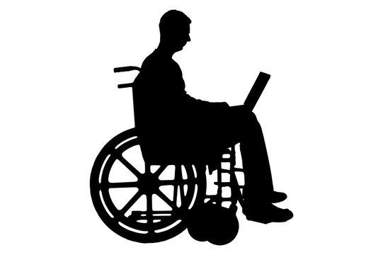 Silhouette a disabled person in a wheelchair with a laptop on white background